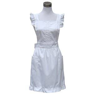 Hyzrz Lovely Household Cotton Retro Frilly Maid Home Kitchen Cake Cooking Apron with Pockets (White) $5 off at Amazon