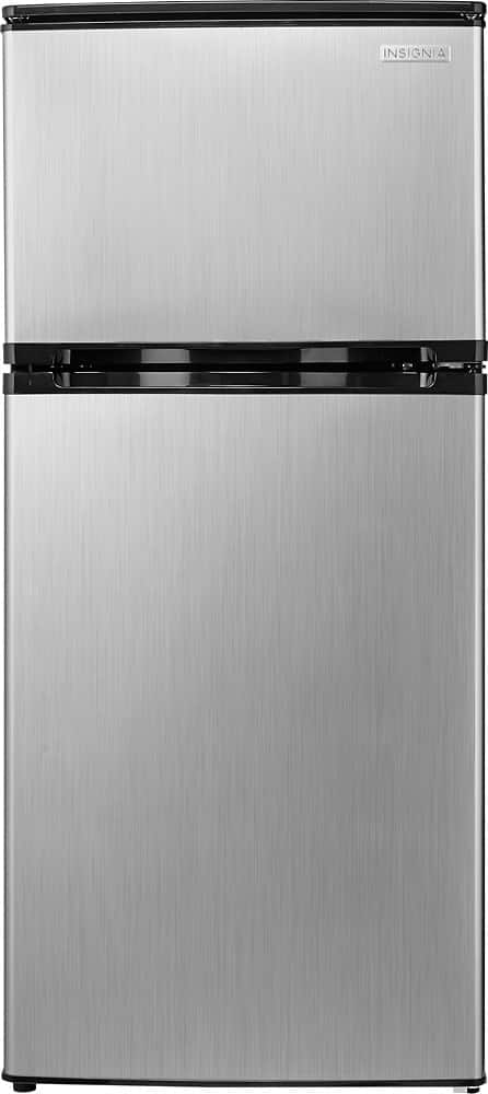 Insignia - 4.3 Cu. Ft. Compact Refrigerator - Stainless steel look $150