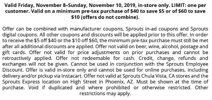 Sprouts Farmers Market 5 off 40 or 10 off 60 coupon