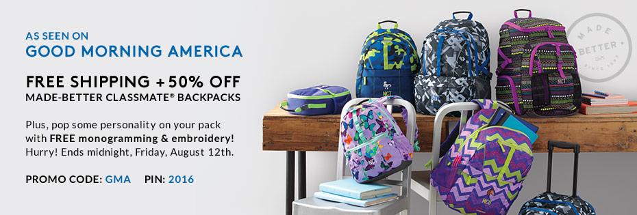 Lands End Classmate backpacks 50% off