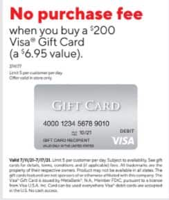 Staples - No Purchase Fee when you buy a $200 Visa Gift Card In Store Only (a $6.95 value) - 7/11-07/17 - Limit 5
