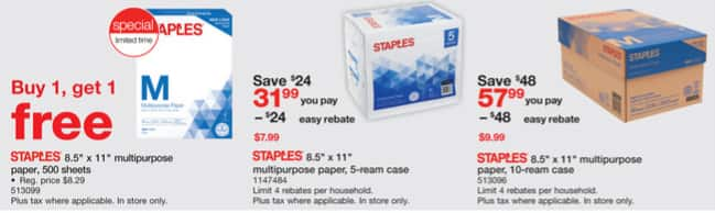 Staples weekly ad 12/31 - 01/06/18 - 10-reams cases $9.99 AR ,5-ream - $1AR/AC, 1-ream buy1get1