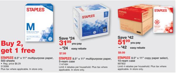 Staples weekly ad 1/7 - 1/13/18 - 10-reams cases $9.99 AR ,5-ream - $1AR/AC, 1-ream buy1get1, 10-reams Copy Select paper cases $9.99 AR