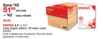 Staples weekly ad 1/14- 1/20/18 - 10-reams cases $9.99 AR ,5-ream - $1AR/AC, 1-ream buy1get1, 10-reams Copy Select paper cases $9.99 AR