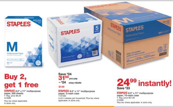 Staples weekly ad 1/21- 1/27/18 - 10-reams cases $24.99 , 5-ream - $1AR/AC, 1-ream buy2get1