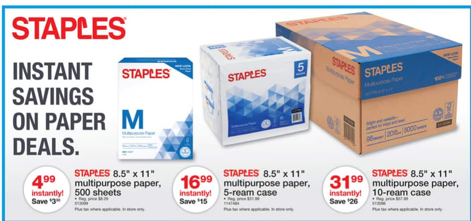 Staples weekly ad 2/4/18- 2/10/18 - 10-reams cases $31.99, 5-ream $16.99 1-ream $4.99 - No Rebates