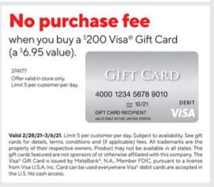 Staples No Purchase Fee on $200 VisaCard Gift Cards 02/28 - 03/06 -- IN STORE ONLY -Limit 5