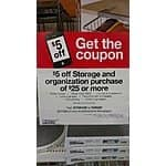 Target.com & B&M Coupon $5 off $25 storage & Organizational items