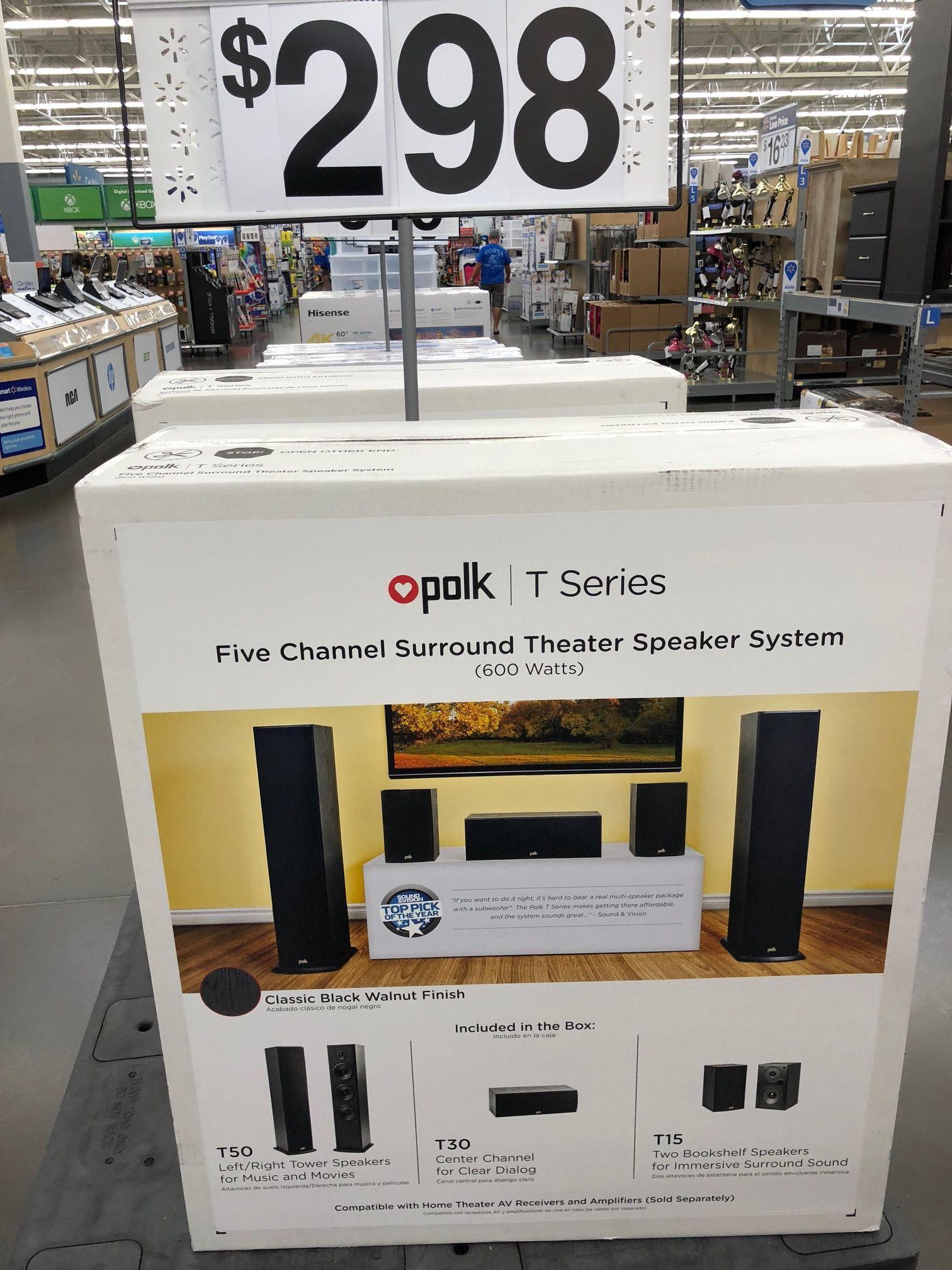 Polk Five Channel Surround Theater Speakers System (2 Floor, 1 Center, 2 Bookshelf) $298