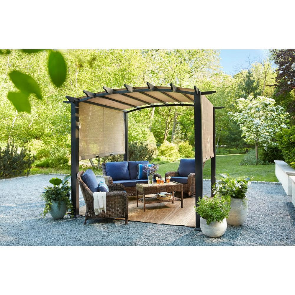 Homedepot - YMMV Hampton Bay 10 ft. x 10 ft. Steel and Aluminum Arched Pergola with Slide Canopy - $999 $299