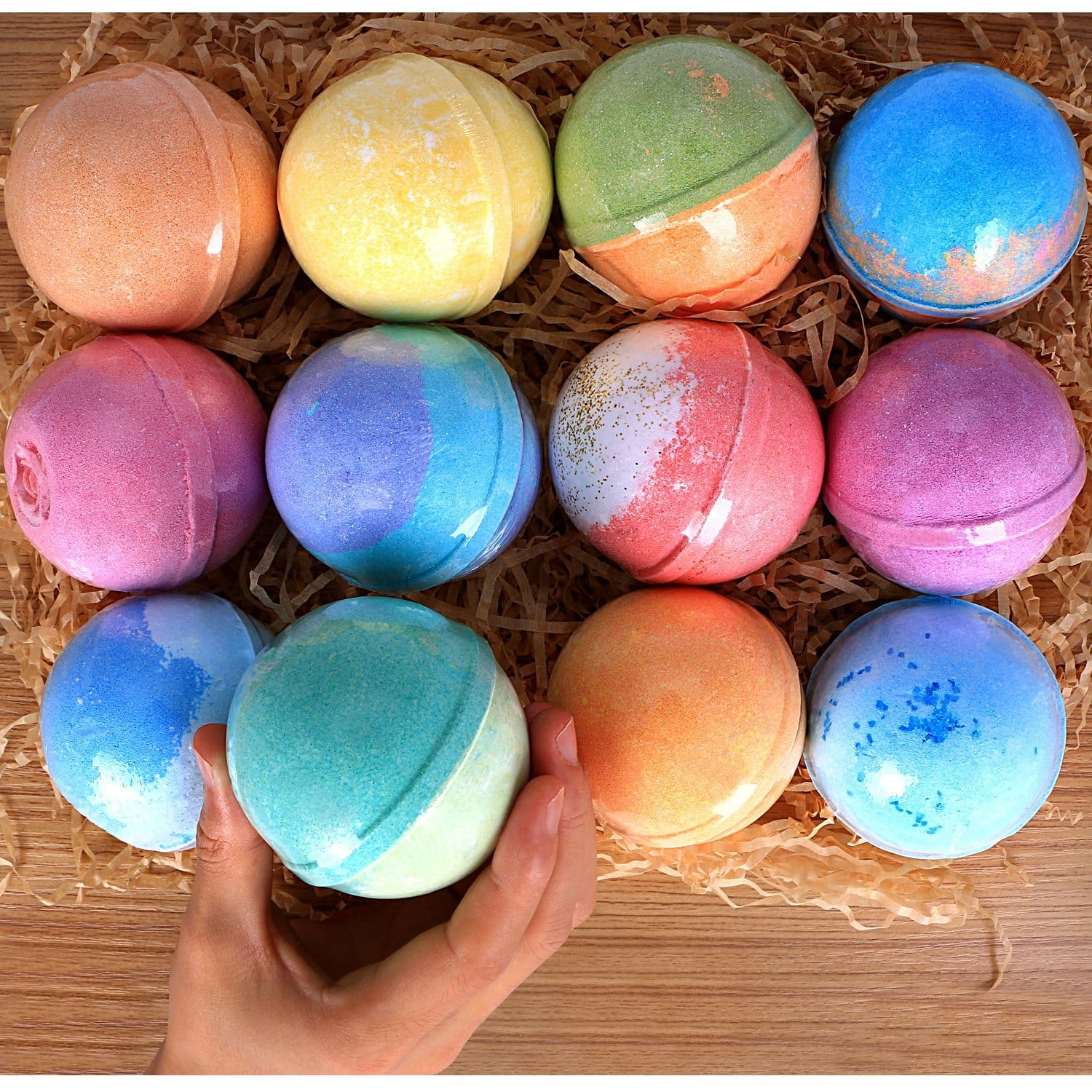 $18.89 - 12 Bath Bombs Gift Set Super Large 5oz Handmade with Natural Vegan Shea & Cocoa Butter Spa with Fizzies