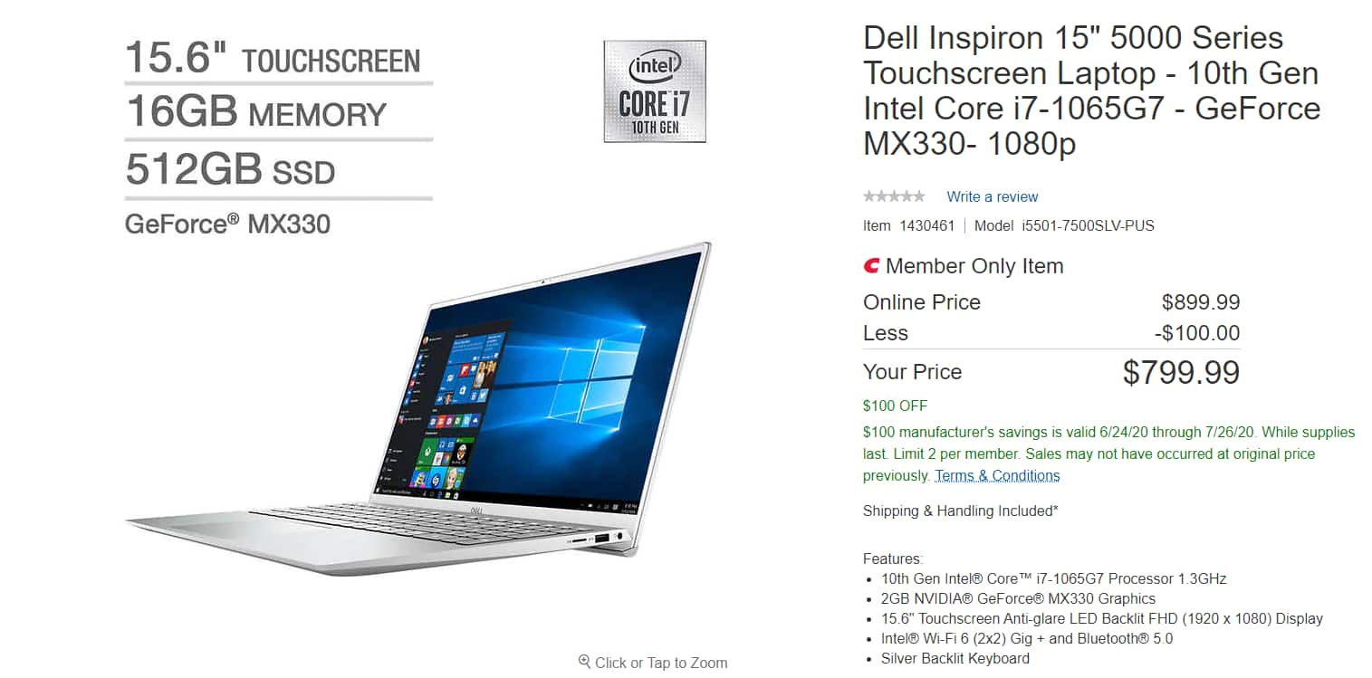 "Dell Inspiron 15"" 5000 Series Touchscreen Laptop - 10th Gen Intel Core i7-1065G7 - GeForce MX330- 1080p $799"