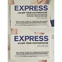 image regarding Express Coupons Printable 30 Off 75 identify Categorical $75 off upon $200 obtain OR $40 off upon $120 acquire