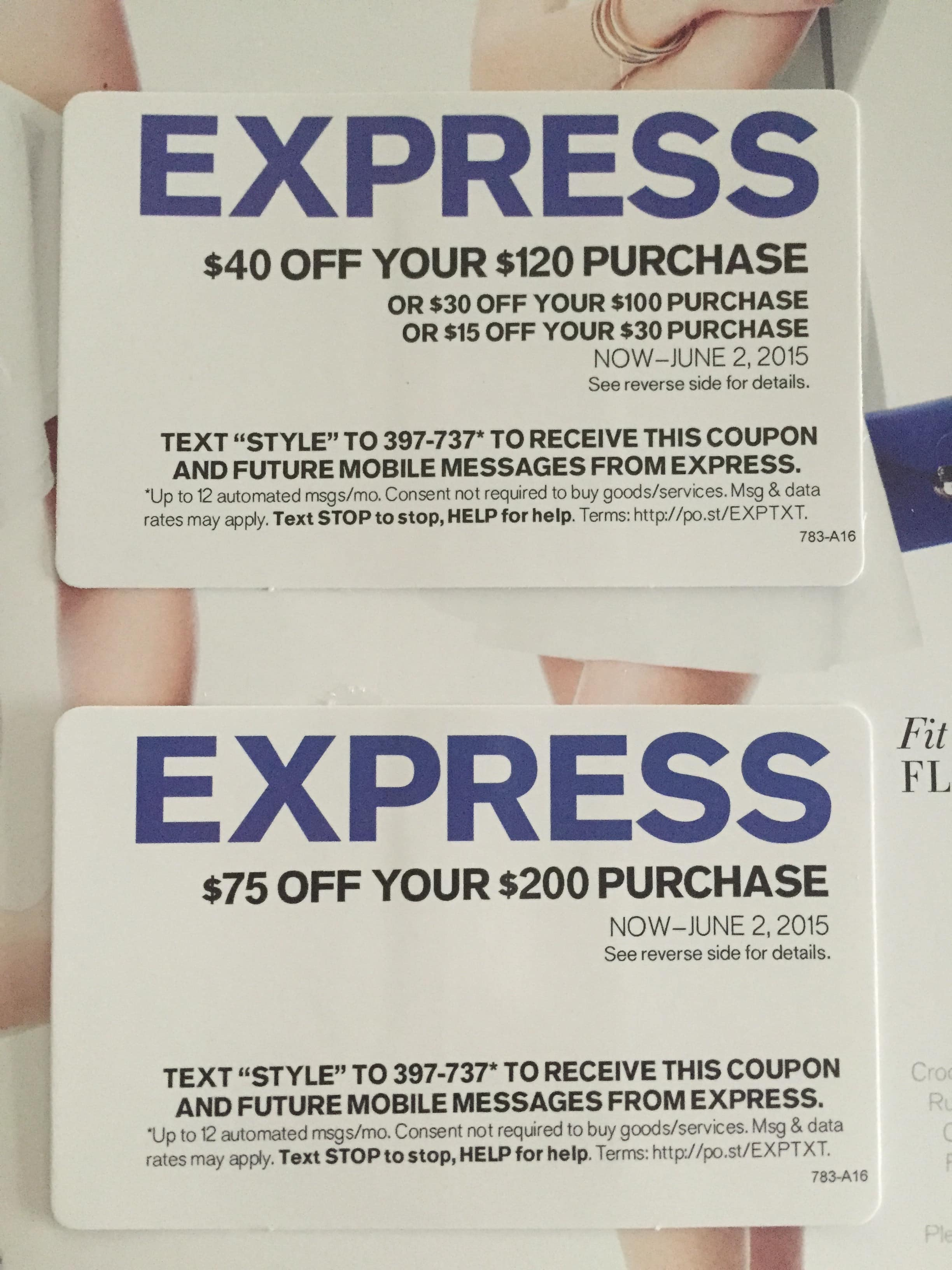 Express $75 off on $200 purchase OR $40 off on $120 purchase