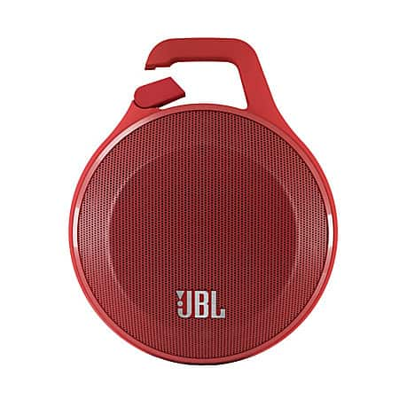 JBL Clip Ultra Portable Rechargeable Bluetooth Speaker With Carabiner and Microphone, Red OR Bluefor $9.95 via Office Depot store pick up only