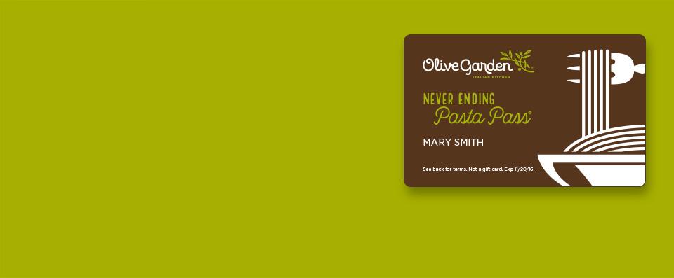Olive Garden : Never Ending Pasta Pass for seven weeks for $100 online ONLY (Sale starts September 15th, 2PM ET)