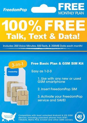 FreedomPop - Basic Plan LTE 3-in-1 SIM Card Kit $0.99