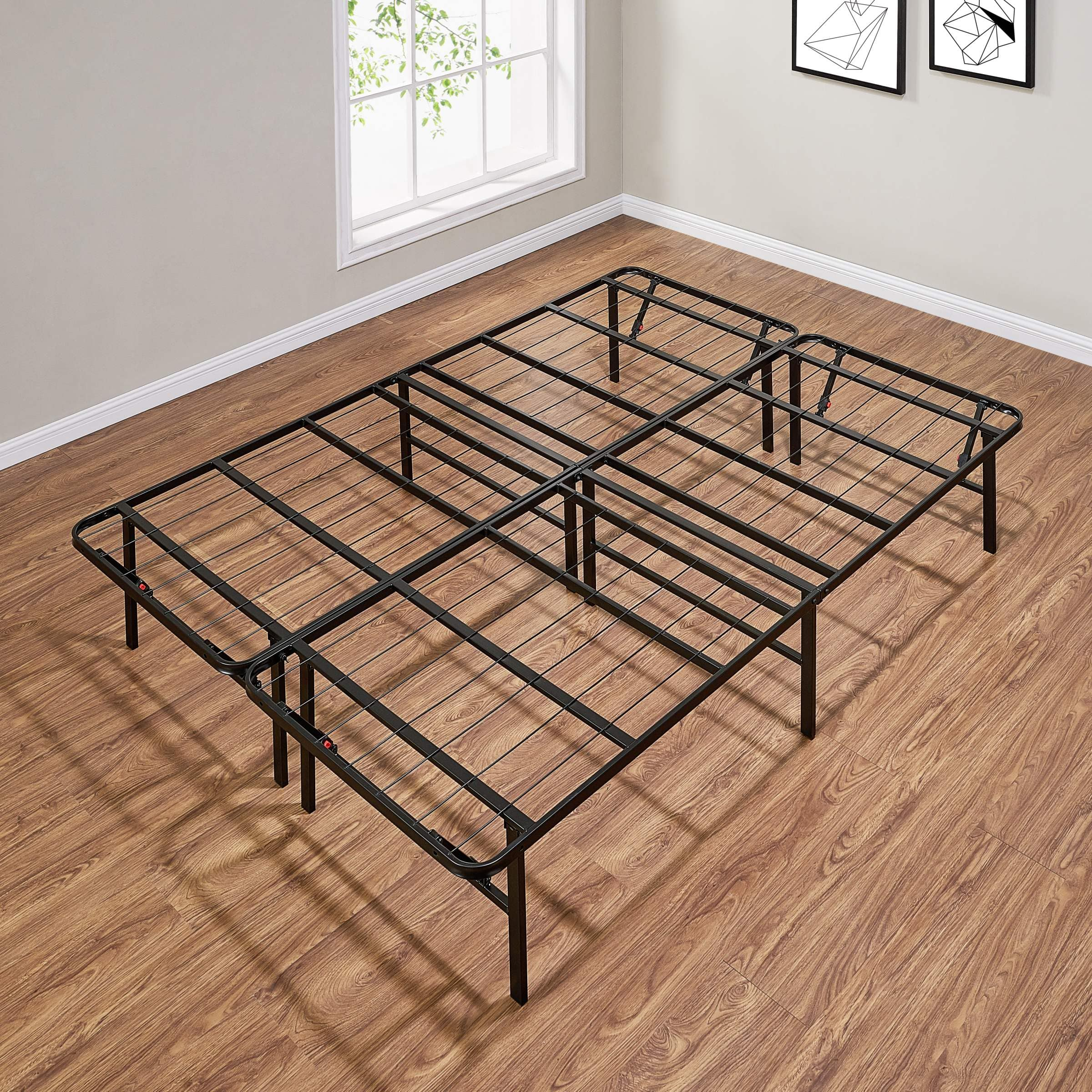 Mainstays High Profile Foldable Steel Bed Frame, Powder-coated Steel $50