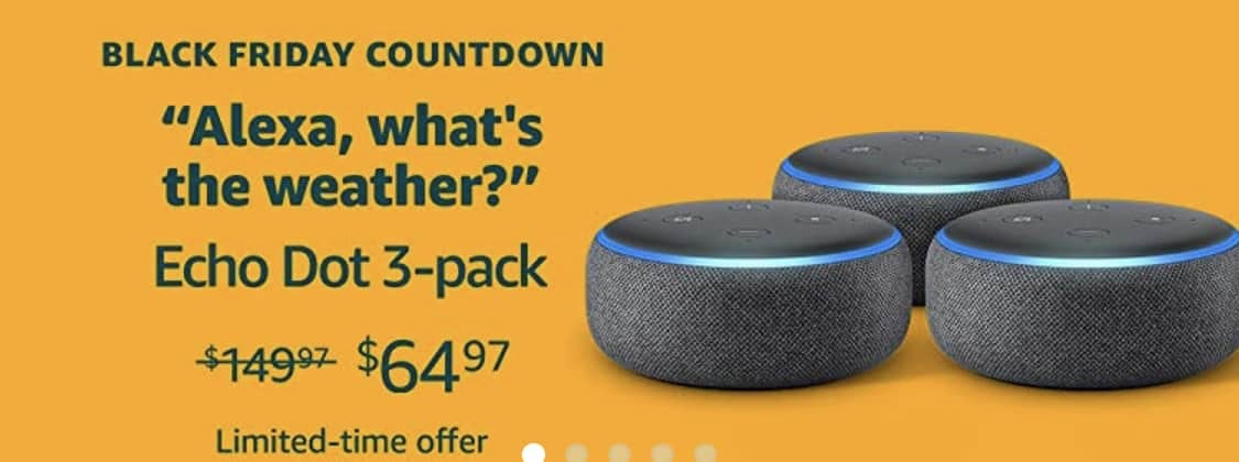 3 Pack of Echo Dot (3rd Generation) $65