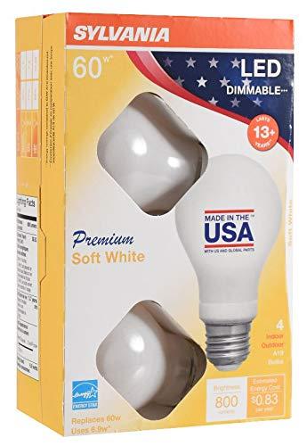 Sylvania 6.9w, 60 Watt Equivalent, A19 LED Light Bulbs, Dimmable,  2700K Soft White- 4 Pack- $2.97 at Walmart free store pickup YMMV