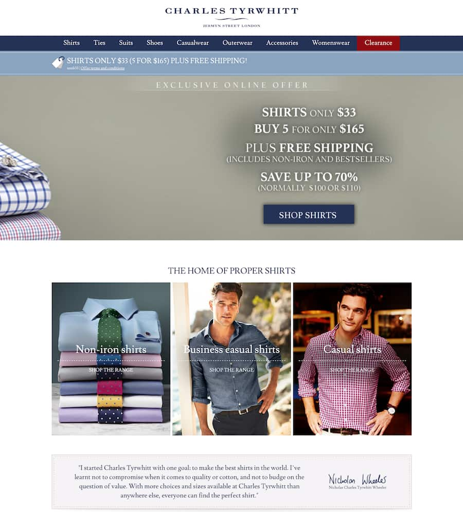 Charles tyrwhitt shirts only $33 (5 for $165) plus free shipping!