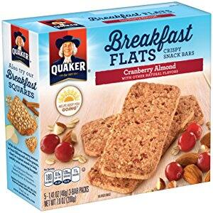 Amazon: Quaker breakfast flats, cranberry almond, breakfast bars,5 packets per box (pack of 8) only $11 – $13