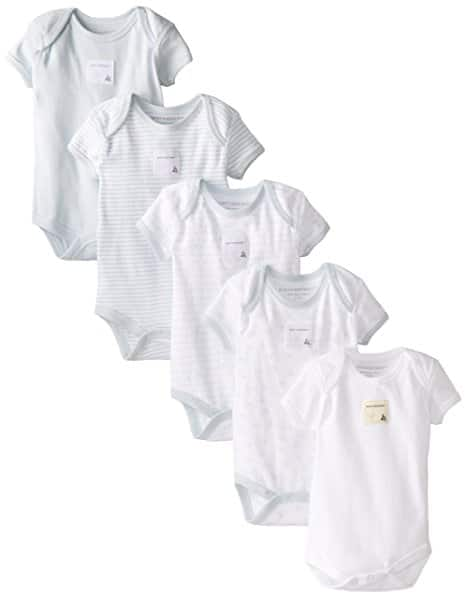 Amazon: Set of 5 Burt's Bees Short Sleeve Bodysuits (12 months), $12.35 +tax+ free shipping for Prime members