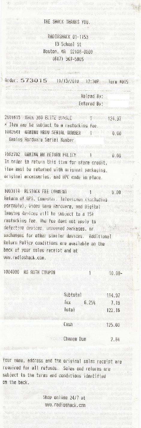 Xbox 360 Elite Bundle System - 125$ + tax @RadioShack YMMV