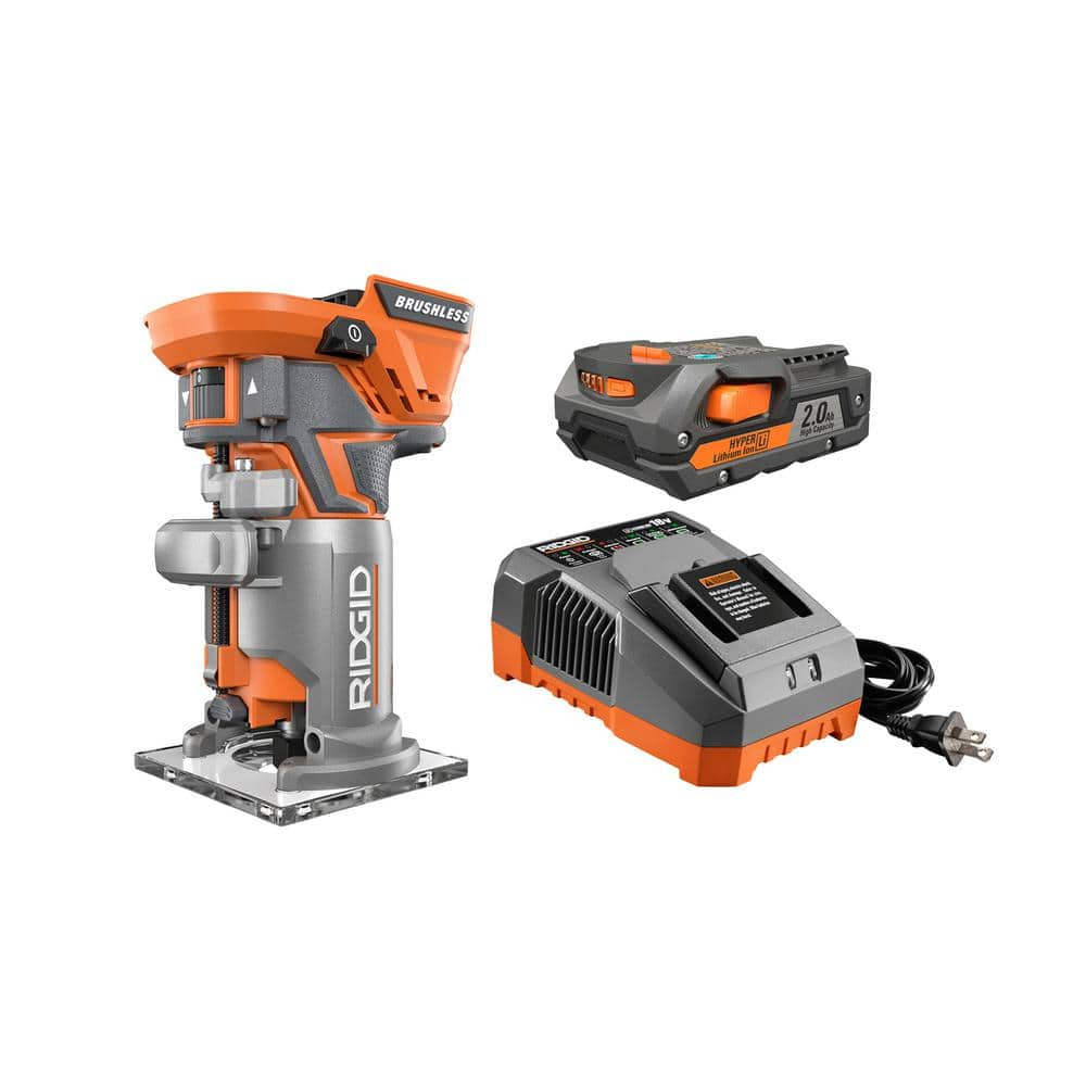 RIDGID 18-Volt GEN5X Lithium-Ion Cordless Brushless Compact Router Kit with (1) 1.5Ah Battery and Charger $129