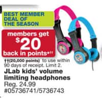Sears Deal: Sears: JLab JBuddies Folding Kids Headphones with $20 Shop Your Way Points for $25 and Free In-Store Pickup -  Live