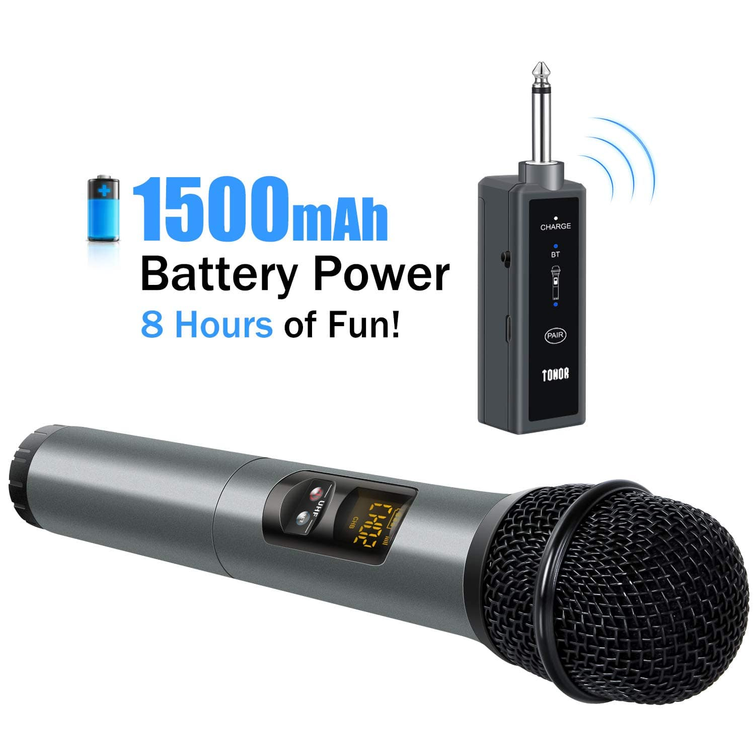 Amazon: UHF Wireless Microphone Handheld Mic with Bluetooth Receiver 1/4 Output (Operating range: 80ft) for $20.99