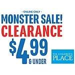 The Children's Place Clearance- Everything $4.99 & under (except shoes), extra 20% off and free shipping too!