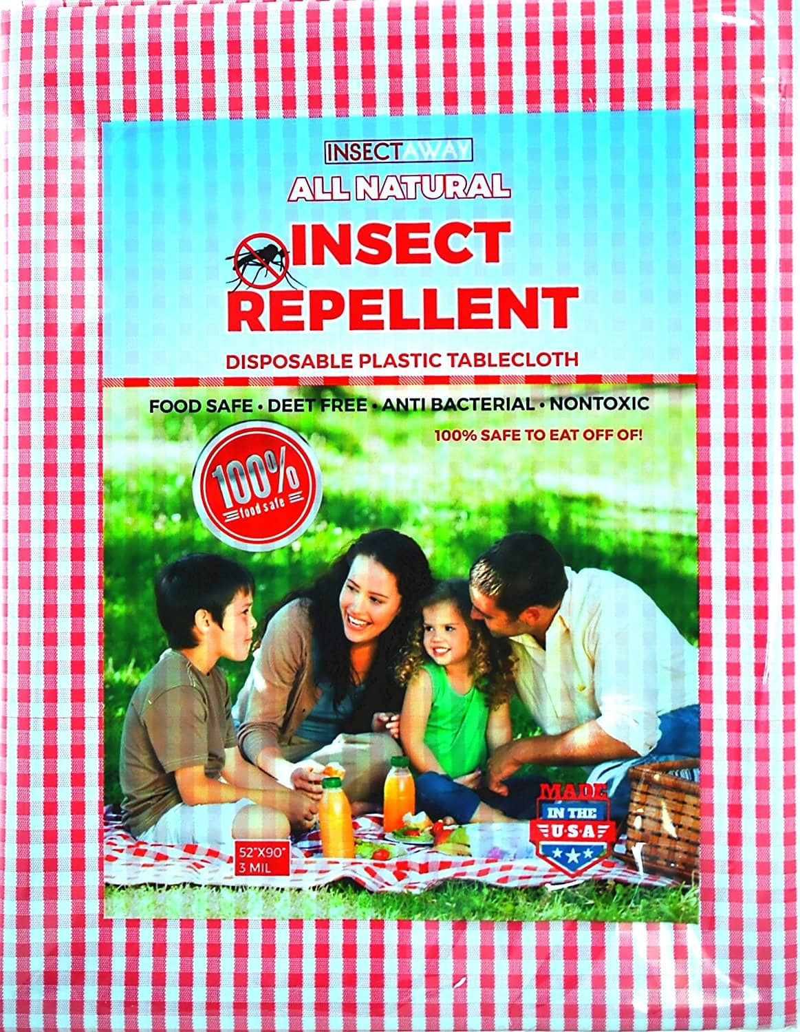 "(2 PACK) Insect Away All Natural Insect Repellent Tablecloth 52"" X 90"" Red and White Checkered $8.99 Free Shipping"