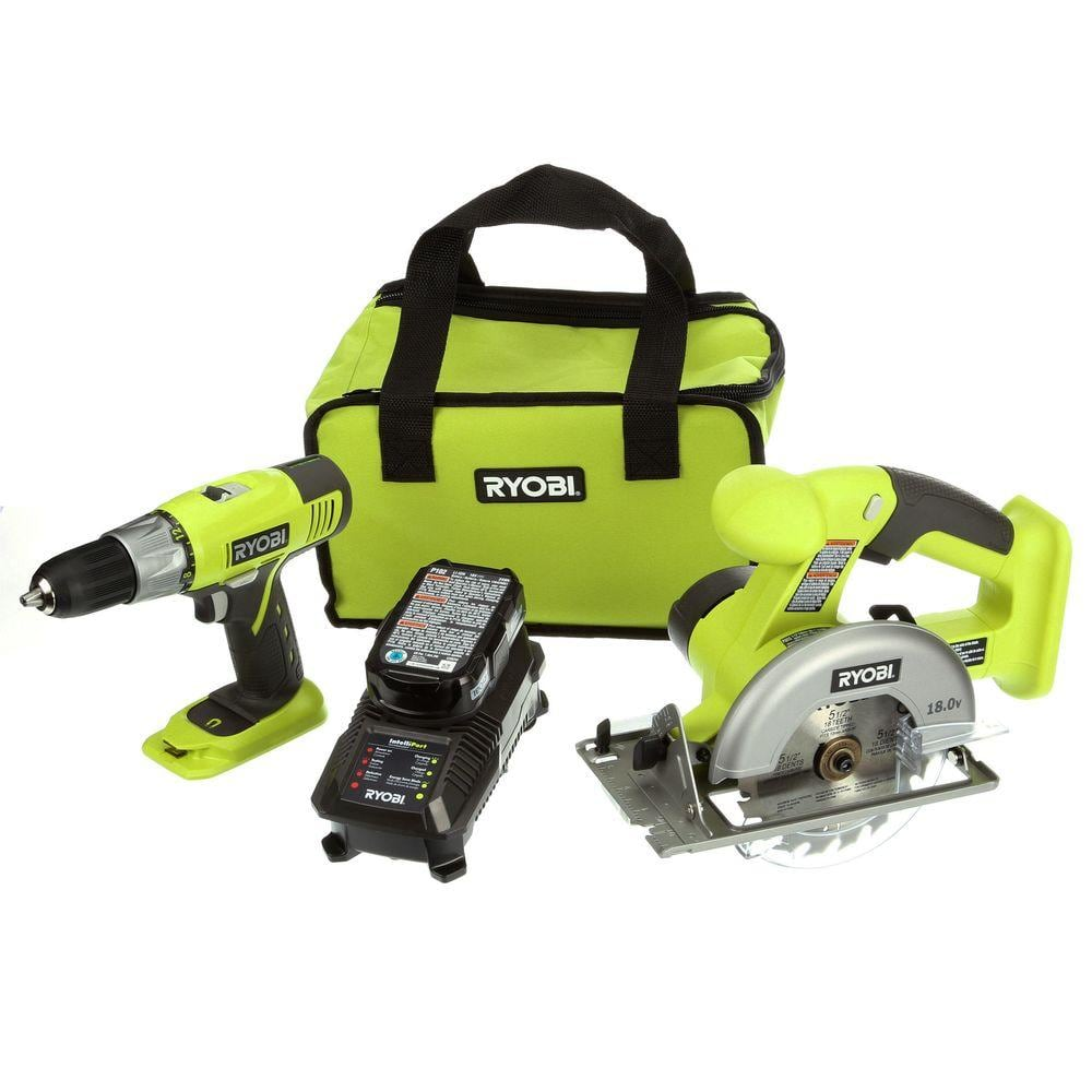 Ryobi ONE+ 18-Volt Lithium-Ion Starter Combo Kit (drill and circular saw) $79 free shipping Home Depot