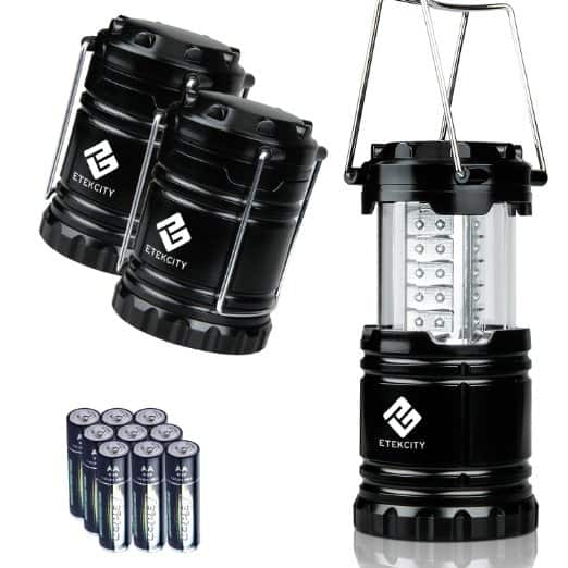 Etekcity 3 Pack Portable Outdoor LED Camping Lantern with 9 AA Batteries for $14.99