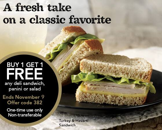 Starbucks BOGO! Buy 1 sandwich, panini, or salad, get one FREE! YMMV