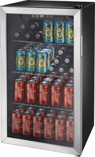 Best Buy - Insignia™ - 115-Can Beverage Cooler - Stainless steel/black $199.99