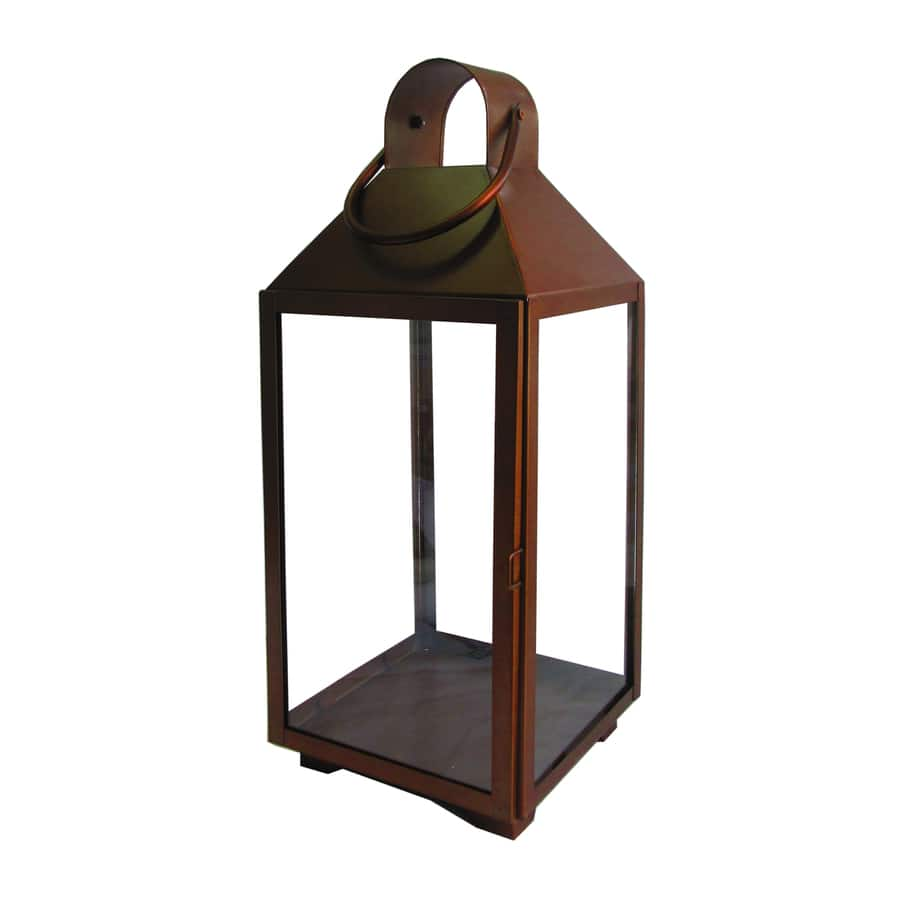 """Lowe""""s - allen + roth 8.27-in x 20.24-in Copper Metal Pillar Candle Outdoor Decorative Lantern $12.50"""