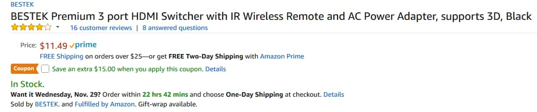 BESTEK 3 port HDMI Switcher with IR Wireless Remote and Power Adapter, supports 3D for FREE AC + FS w/ Prime @ Amazon.com