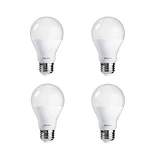$17.43  4-Pack Philips LED Non-Dimmable A19 Frosted Light Bulb: 1500-Lumen, 5000-Kelvin, 14-Watt (100-Watt Equivalent), E26 Base, Daylight