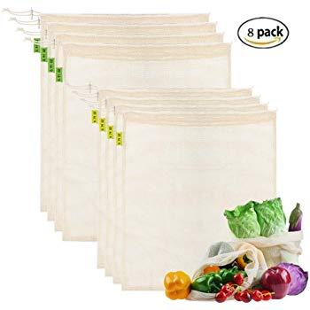 $14.99 Reusable Washable Mesh Produce Bags Set of 8 (4 Medium - 4 Large)