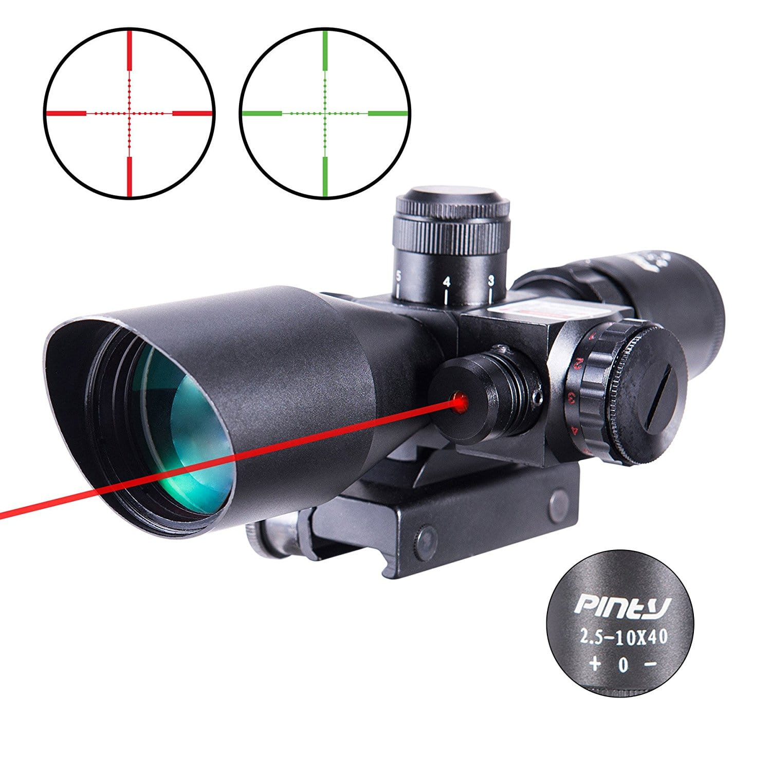 Pinty 2.5-10x40 AOEG Red Green Illuminated Mil-dot Tactical Rifle Scope with Red Laser Combo - Green Lens Color $27.99 + FS
