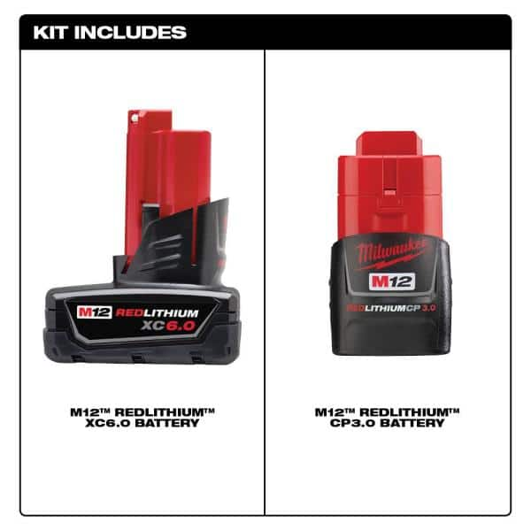 Milwaukee M12 2-pack battery combo (48-11-2460S) including XC6 and CP3 for $99 at HomeDepot