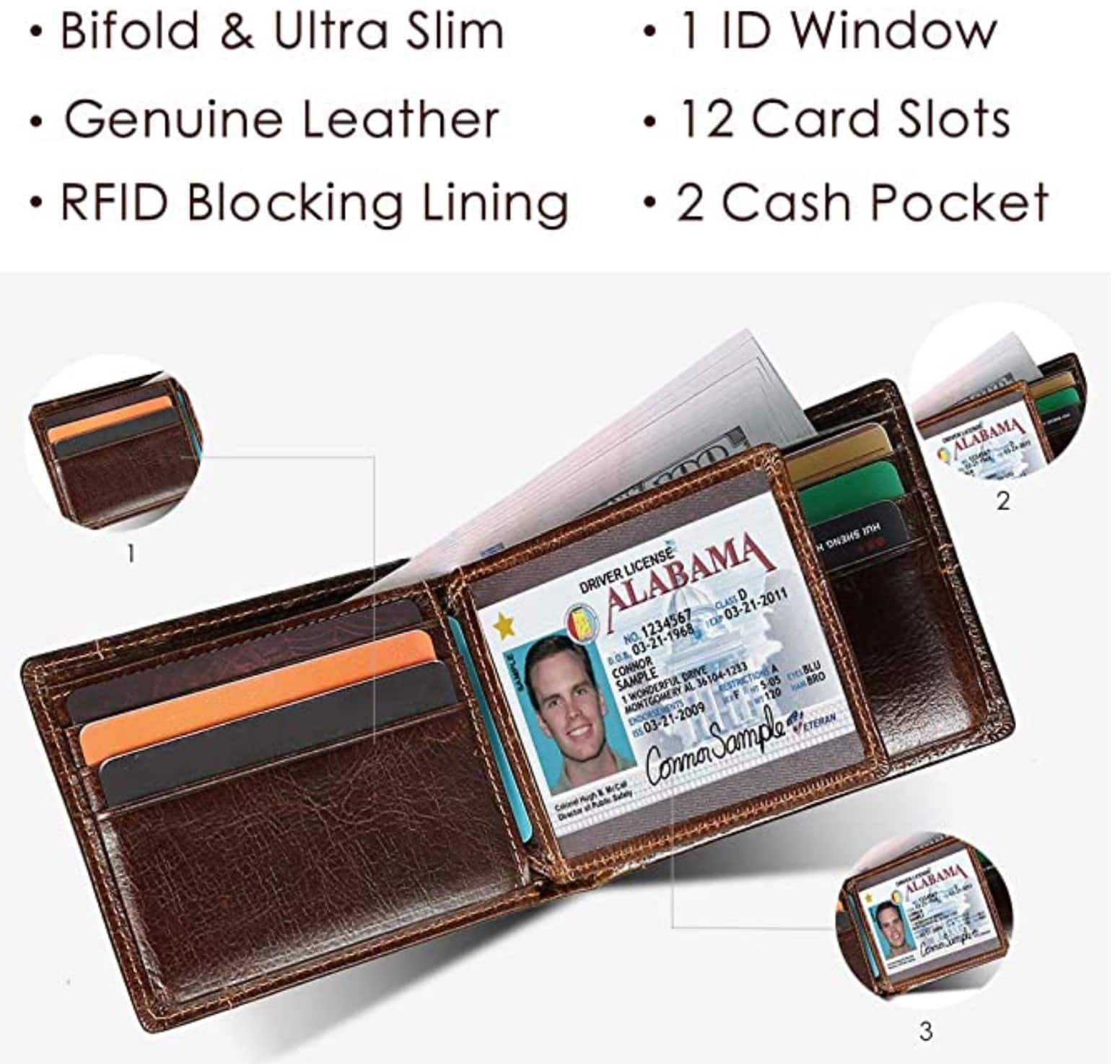 Mens Wallet Slim Genuine Leather RFID ($8.23-$9.89 AC)Thin Bifold Wallets For Men Minimalist Front Pocket ID Window 12 Card Holders $9.88