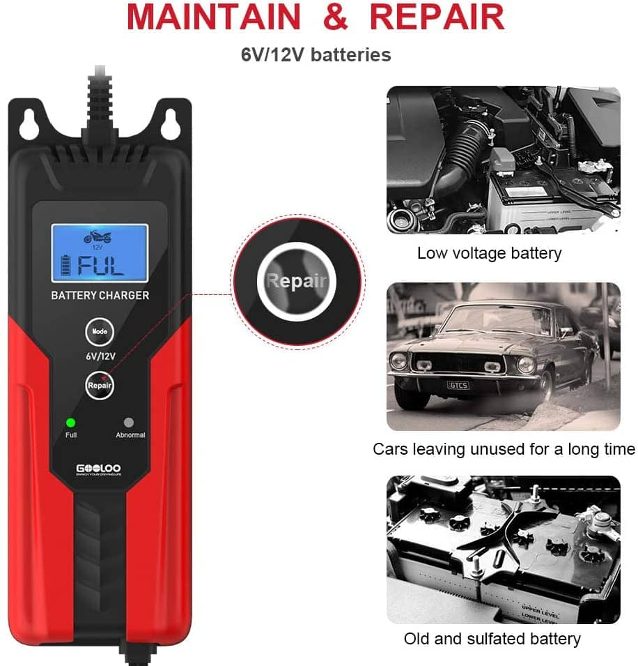 GOOLOO 6V/12V Smart Battery Charger and Maintainer ( $20.34) 6-Amp Full Automatic 6-Stages Trickle Charging with Clamps for Car,Motorcycle,Lawn Mower,Boat RV,SUV,ATV