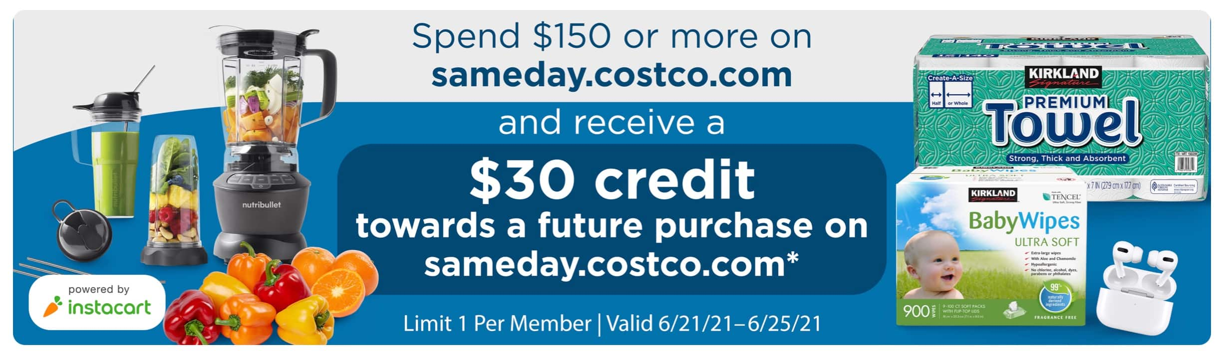 Costco Same Day - $30 credit on $150 spend   AirPods Pro - $201 + $30 credit