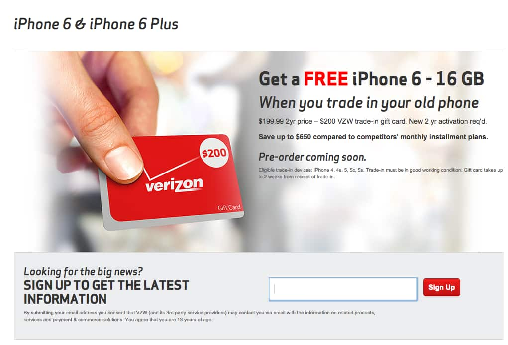 VerizonTrade in iPhone for $200 when upgrade to 6 or 6 plus - iPhone 4, 4S, 5, 5S eligible