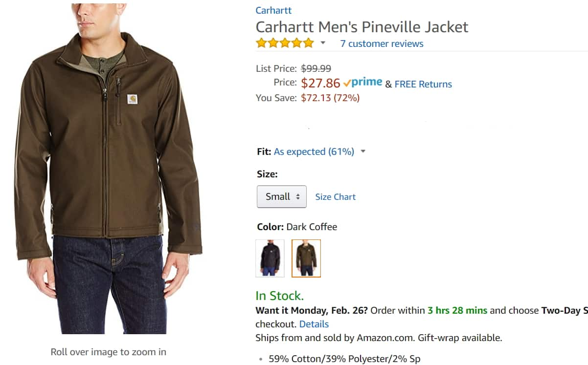 a7f0e99566d Carhartt Men s Pineville Jacket - Dark Coffee color. Small size only ...