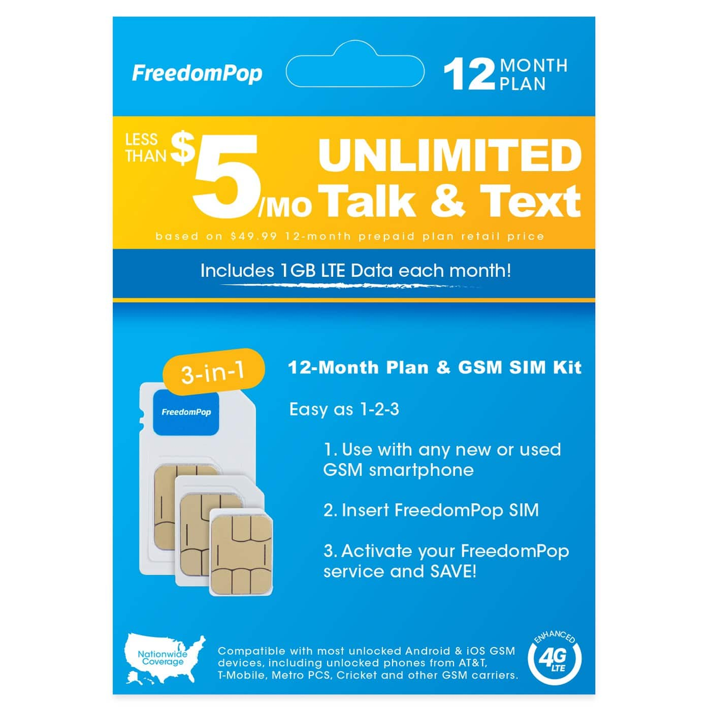 FreedomPop 12-month SIM for $30 + fees, tax, filler item (1GB data for ~$2.75/month)