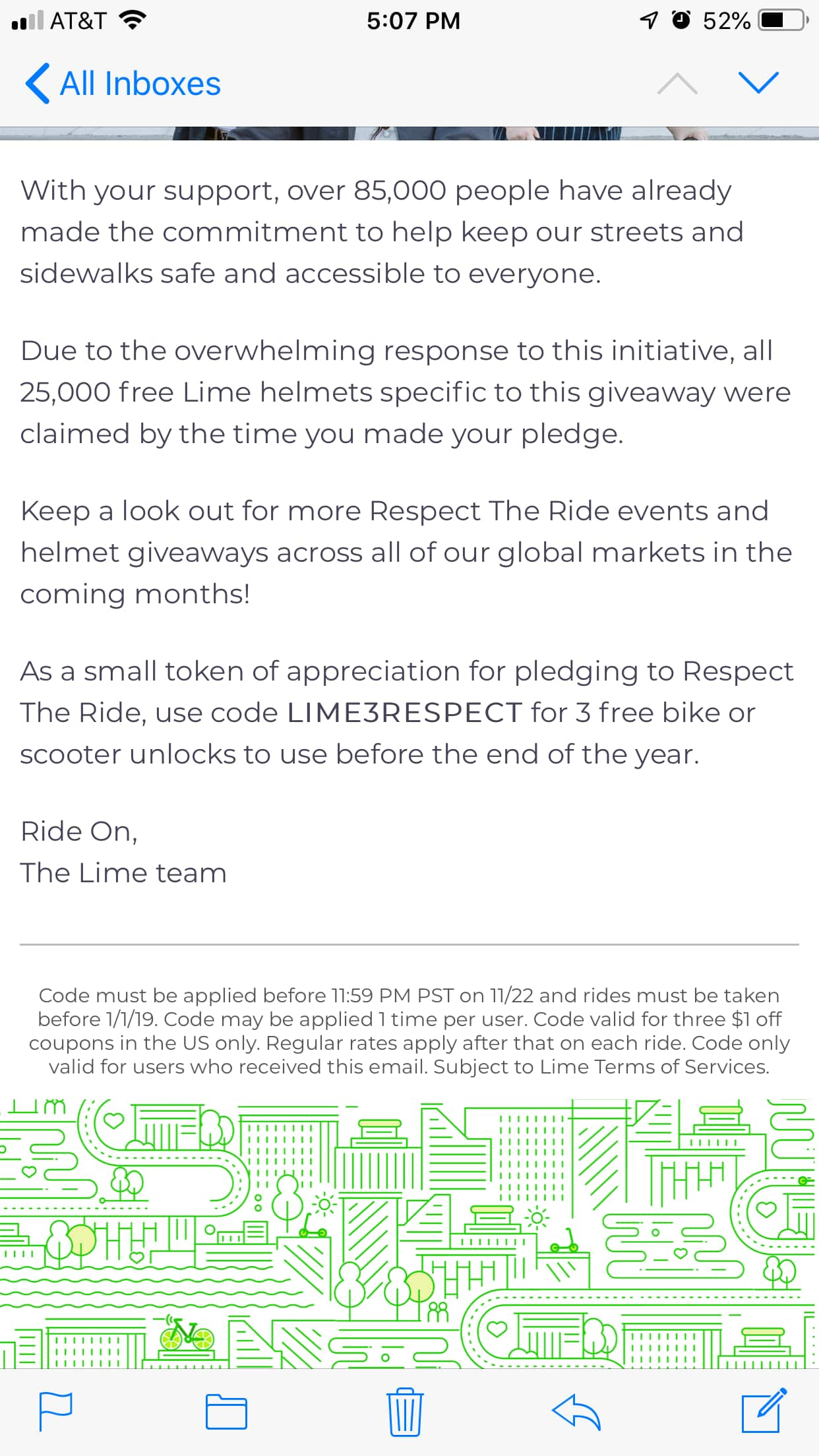 Lime scooters - get 3 free rides on or before 12/31/18